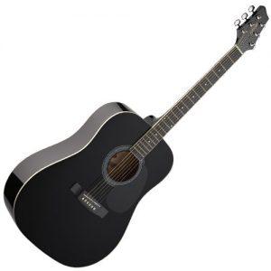 Stagg-SW201BK-Guitare-acoustique-Dreadnought-Noir-0