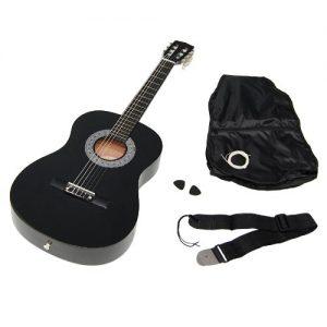 TS-Ideen-5262-Guitare-acoustique-34-avec-Etui-Sangle-Jeu-de-cordes-pour-Enfant-de-8--12-ans-Noir-0