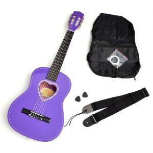 Ts-Ideen-5259-Guitare-acoustiqueclassique-avec-pocheplectrecordescourroie-pour-enfants-Taille-12-Rosace-en-forme-de-coeur-Mauve-0