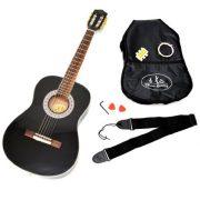 TS-Ideen-5287-Guitare-acoustique-de-concert-12-avec-Touche-en-palissandre-Etui-matelass-Sangle-Cordes-Diapason-pour-Enfant-de-6–9-ans-Noir-0-0