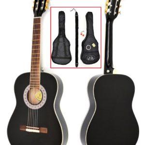 TS-Ideen-5287-Guitare-acoustique-de-concert-12-avec-Touche-en-palissandre-Etui-matelass-Sangle-Cordes-Diapason-pour-Enfant-de-6--9-ans-Noir-0
