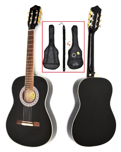 TS-Ideen-5287-Guitare-acoustique-de-concert-12-avec-Touche-en-palissandre-Etui-matelass-Sangle-Cordes-Diapason-pour-Enfant-de-6–9-ans-Noir-0