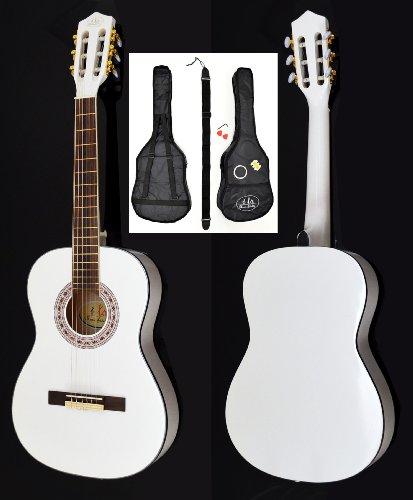 achat guitare acoustique concert en blanc la taille 3 4 pour enfants de 8 12 ans set d. Black Bedroom Furniture Sets. Home Design Ideas