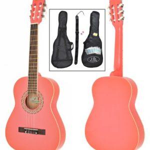 Guitare-de-concert-12-classique-acoustique-pour-enfant-de-6--9-ans-avec-tui-rembourr-cordes-mdiators-diapason--bouche-et-sangle-Rose-0