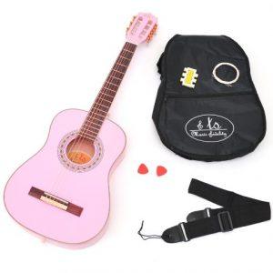 TS-Ideen-5291-Guitare-de-concert-34-acoustique-avec-Housse-Sangle-Cordes-Diapason--bouche-2-mdiators-pour-Enfant-de-8--12-ans-Magenta-0