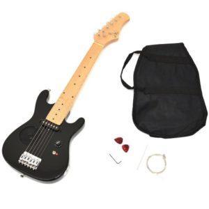 ts-ideen-Guitare-lectrique-pour-enfants-de-4--8-ans-noir-avec-haut-parleur-intgr-housse-et-cordes-de-rechange-0