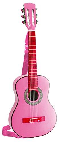Bontempi-Girl-Gsw-7571s-Guitare-En-Bois-Avec-Sangle-Et-Autocollants-Rose-Laqu-75-Cm-0