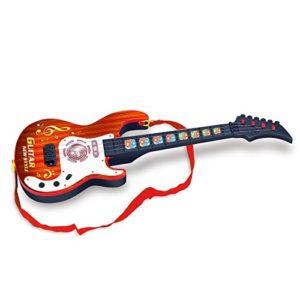 Guitare-Enfant-Foxom-4-Cordes-Simulation-Rock-lectrique-Mini-Guitare-Enfants-Instruments-de-Musique-Jouet-ducatif-Marron-0