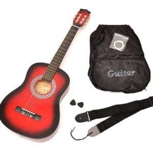 TS-Ideen-5209-Guitare-acoustique-12-avec-Housse-Sangle-Jeu-de-cordes-pour-Enfant-de-6--9-ans-Rouge-0