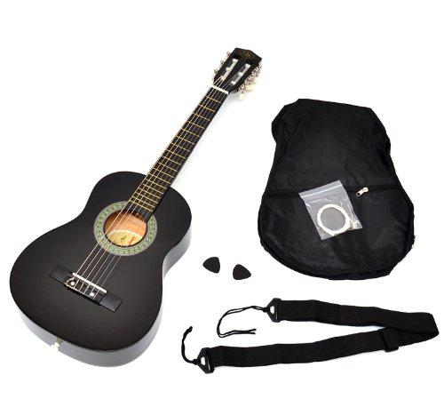 Ts-ideen-52071-Guitare-acoustique-14-pour-enfants-de-4–7-ans-avec-tui-sangle-et-jeu-de-cordes-Noir-0