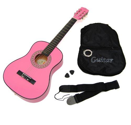 Ts-ideen-5253-Guitare-acoustique-12-pour-enfant-de-6–9-ans-Rose-avec-tui-sangle-cordes-et-mdiators-0