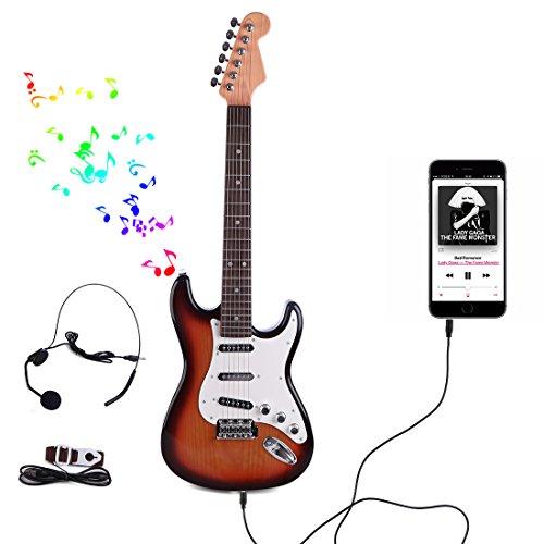 Guitare-Enfant-OviTop-66cm-Guitare-Electrique-6-Cordes-Mtallique-avec-Microphone-Star-Musique-Idal-Cadeau-de-Nol-Anniversaire-Instrument-Musical-pour-Enfant-Ados-Debutant-FR3717A-0