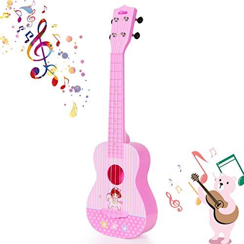 SGILE-Jouet-Musical-Guitare-Ukull-pour-Enfant-Les-dbutants-de-23-Pouces-4-Cordes-Cadeau-pour-Les-Ftes-pour-Les-Garons-et-Les-Filles-Rose-0