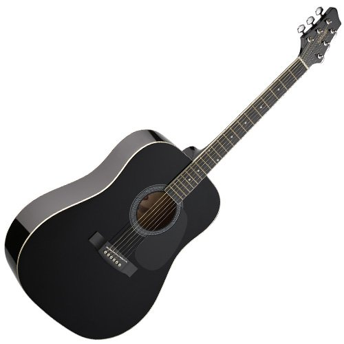 Stagg-SW201BK-Guitare-acoustique-Dreadnought-Noir-0
