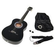 TS-Ideen-5262-Guitare-acoustique-34-avec-Etui-Sangle-Jeu-de-cordes-pour-Enfant-de-8–12-ans-Noir-0