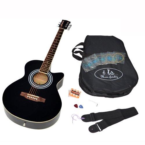 Ts-Ideen-Guitare-folk-acoustique-44-avec-partie-en-palissandre-Housse-rembourre-Sangle-Jeu-de-cordes-de-rechangeDiapason–bouche-Noir-0