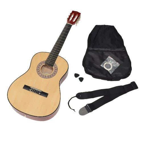 Ts-ideen-5261-Guitare-de-concert-34-classique-acoustique-pour-Enfant-avec-EtuiCordeMdiatorSangle-Nature-0