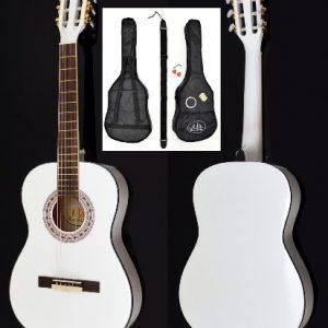 Guitare-acoustique-concert-en-blanc--la-taille-34-pour-enfants-de-8--12-ans-set-daccessoires-0
