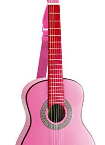 Bontempi-Girl-Gsw-7571s-Guitare-En-Bois-Avec-Sangle-Et-Autocollants-Rose-Laqu-75-Cm-0