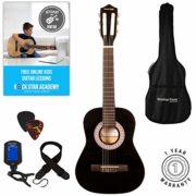 Guitare-Acoustique-Enfant-Lot-Guitare-demi-Taille-86cm-Noire-Cordes-de-Guitare-Housse-0