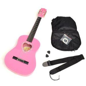 Ts-ideen-5260-Guitare-acoustique-12-pour-Enfant-avec-Rosace-en-forme-de-coeurEtuiMdiatorJeu-de-cordeSangle-Noire-0