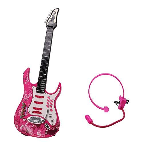 DYFO-Guitare-Enfant-6-Cordes-Guitare-Electrique-Jouet-Idal-pour-denfants-Dbutant-Rose-0