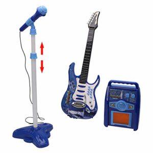MRKE-3-en-1-Guitare-Micro-Ampli-Set-Jouet-pour-Enfant-Garon-et-Fille-3-8-Ans-Bleu-0