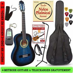 Pack-Guitare-Classique-34-8-13ans-Pour-Enfant-Avec-7-Accessoires-bleu-0