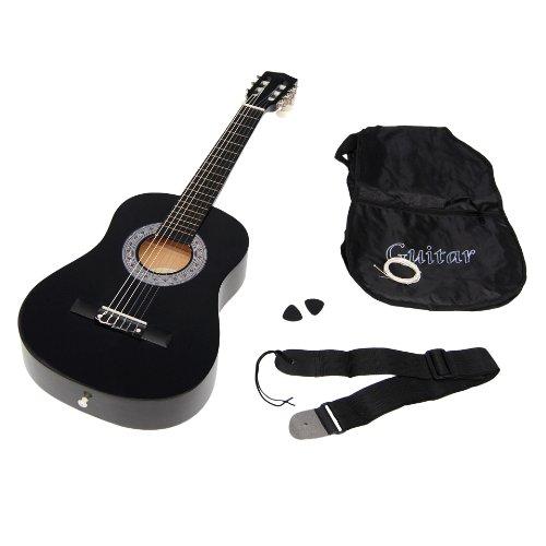 TS-Ideen-5276-Guitare-acoustique-12-avec-Etui-Sangle-Jeu-de-cordes-pour-Enfant-de-6–9-ans-Noir-0